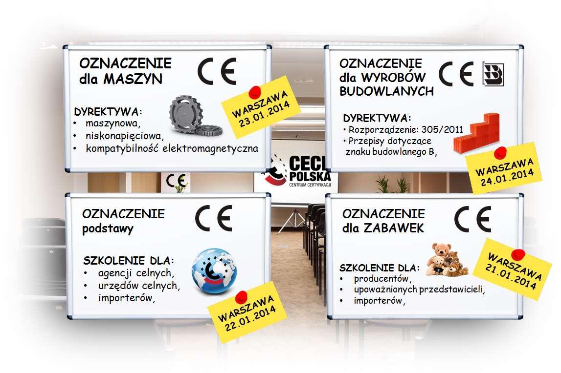 grafika informacyjna o szkoleniach ze znaku CE - oznakowanie CE